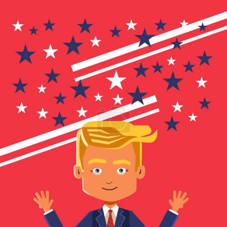 November 09, 2016: Vector poster caricature of Donald Trump's triumph.