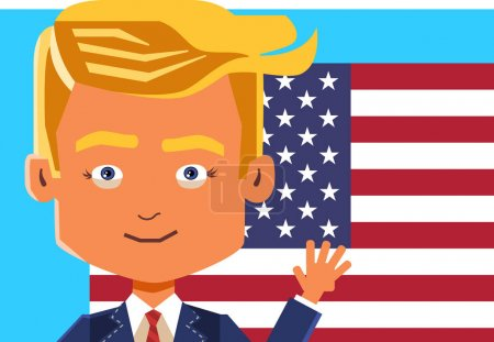 November 09, 2016: Vector poster caricature of Donald Trump Winning the election