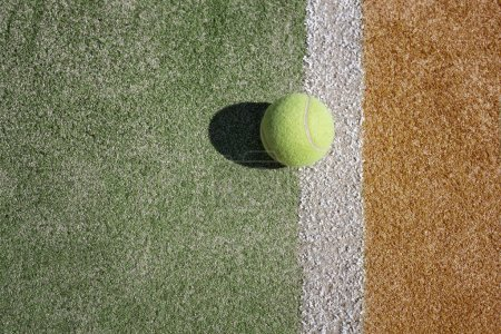 Photo for Tennis ball on tennis court background - Royalty Free Image