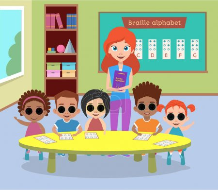 A special class of blind children with glasses. Blind children a