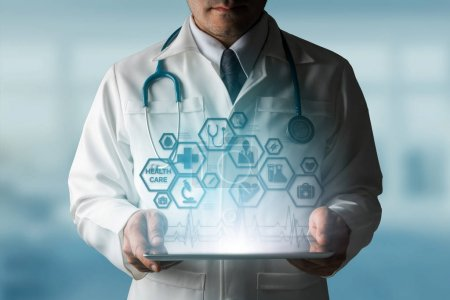Photo for Medical Healthcare Concept - Doctor in hospital with medical icons modern interface showing symbol of medicine, innovation, medical treatment, emergency service, doctoral data and patient health. - Royalty Free Image