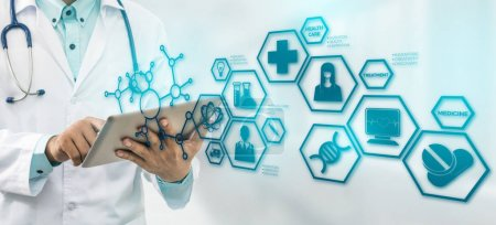 Photo for Medical Science Concept - Doctor in hospital lab with medical research icons in modern interface showing symbol of medicine innovation, medical treatment, discovery and doctoral analysis. - Royalty Free Image
