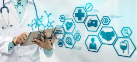 Photo for Health Insurance Concept - Doctor in hospital with health insurance related icons in modern graphic interface showing symbol of healthcare person, money saving, medical treatment and benefits. - Royalty Free Image