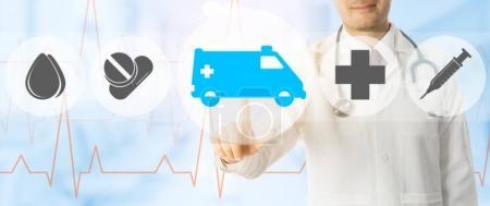 Photo pour Service d'urgence - docteur points icône d'ambulance et médecine d'urgence sur les antécédents médicaux. - image libre de droit