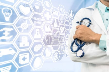 Photo for Healthcare concept - Doctor on medical icons background showing symbols for healthcare person, medical treatment, emergency service, health technology research and medical insurance. - Royalty Free Image
