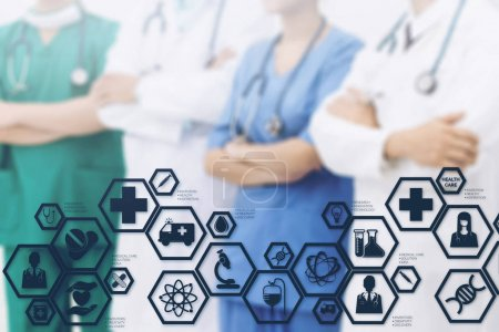 Photo for Medical Healthcare Concept - Doctors in hospital with medical icons modern interface showing symbol of medicine, innovation, medical treatment, emergency service, doctoral data and patient health. - Royalty Free Image