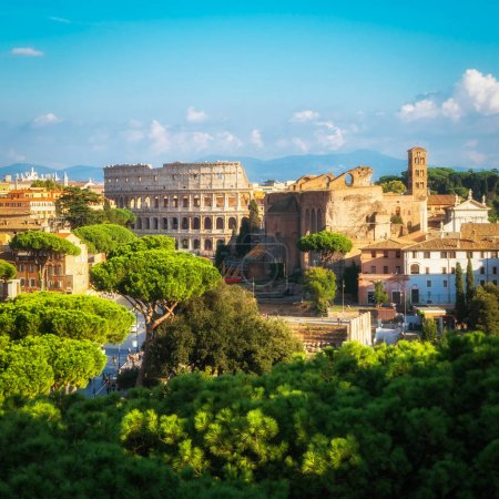 Photo for Rome, Italy city skyline with landmarks of the Ancient Rome ; Colosseum and Roman Forum, the famous travel destination of Italy. - Royalty Free Image