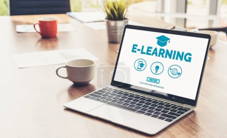 Photo for E-learning and Online Education for Student and University Concept. Video conference call technology to carry out digital training course for student to do remote learning from anywhere. - Royalty Free Image